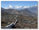 Day 7 - Approaching Muktinath, Dhaulagiri in the distance, 7th highest mountain in the world