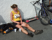 Ellie at the finish