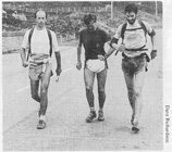 Jon Broxap completing his route with Pete Barron and Mark Rigby on 26th June 1988