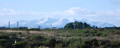 Snow-covered Arran in the background