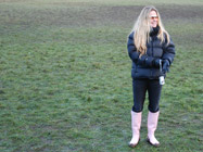 Alison in pink wellies