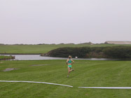 Lindsey MacNeill with a clear lead on the 3rd leg