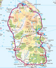 Map of Arran showing relay start and end points